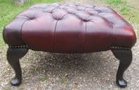 Ox Blood Red Leather Large Stool